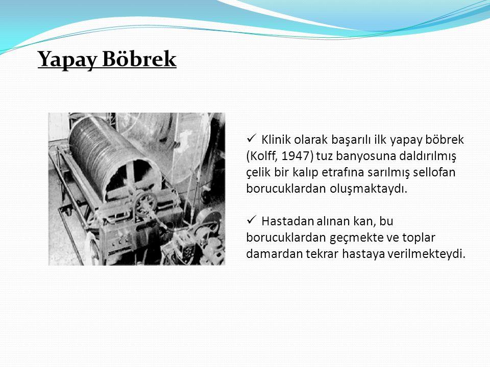 Yapay Böbrek  Klinik olarak başarılı ilk yapay böbrek (Kolff, 1947) tuz banyosuna daldırılmış çelik bir kalıp etrafına sarılmış sellofan borucuklarda