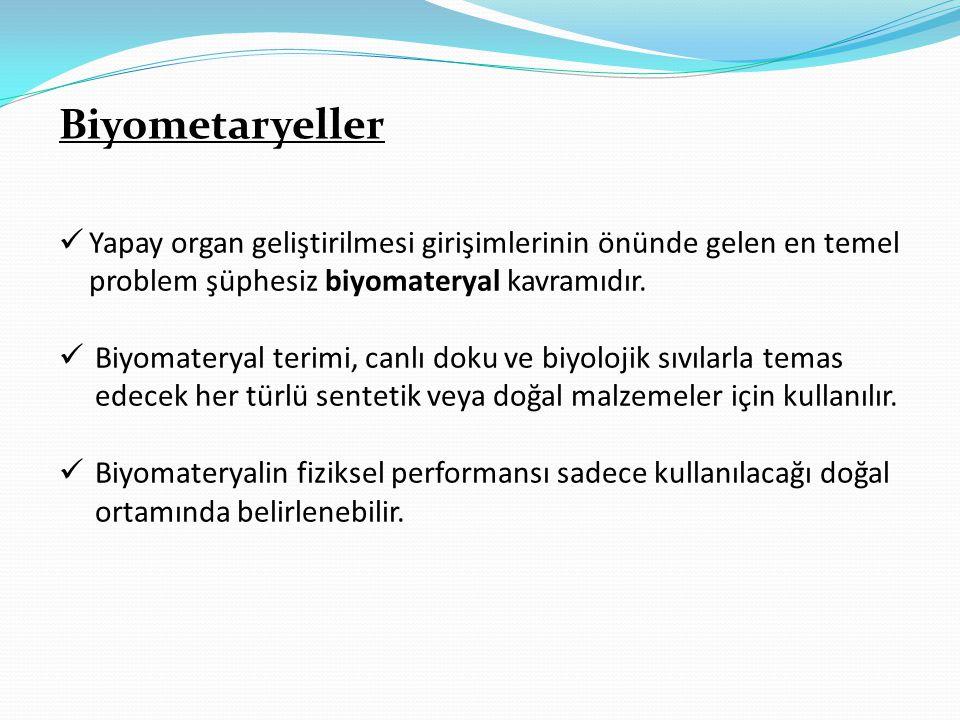 Biyometaryeller  Yapay organ geliştirilmesi girişimlerinin önünde gelen en temel problem şüphesiz biyomateryal kavramıdır.  Biyomateryal terimi, can