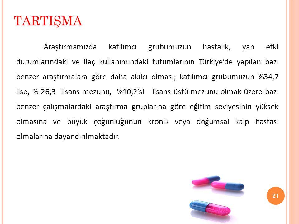 21 Araştırmamızda katılımcı grubumuzun hastalık, yan etki durumlarındaki ve ilaç kullanımındaki tutumlarının Türkiye'de yapılan bazı benzer araştırmalara göre daha akılcı olması; katılımcı grubumuzun %34,7 lise, % 26,3 lisans mezunu, %10,2'si lisans üstü mezunu olmak üzere bazı benzer çalışmalardaki araştırma gruplarına göre eğitim seviyesinin yüksek olmasına ve büyük çoğunluğunun kronik veya doğumsal kalp hastası olmalarına dayandırılmaktadır.