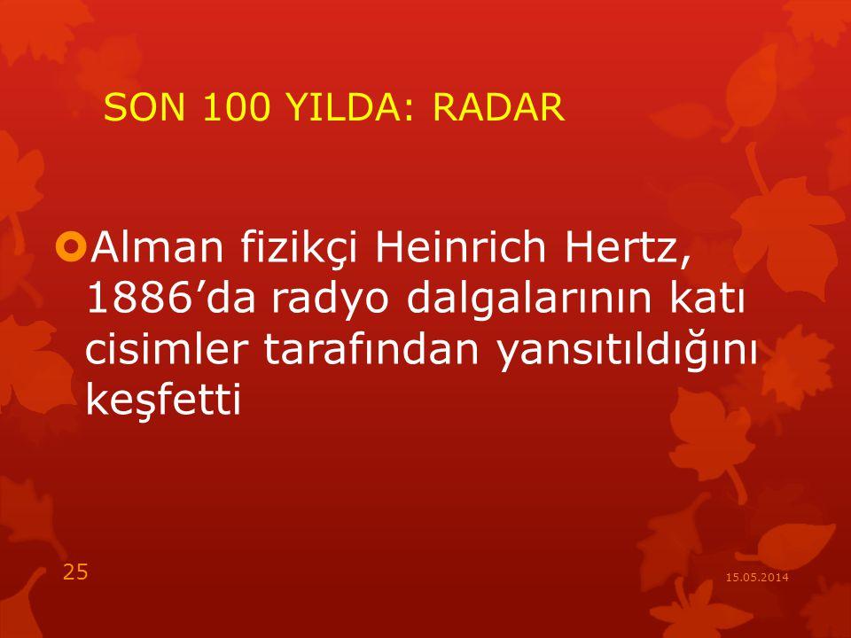 SON 100 YILDA: RADAR  Alman fizikçi Heinrich Hertz, 1886'da radyo dalgalarının katı cisimler tarafından yansıtıldığını keşfetti 15.05.2014 25