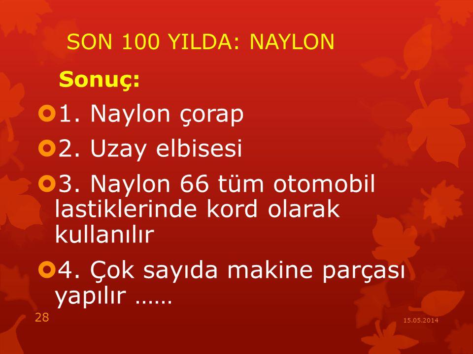 SON 100 YILDA: NAYLON Sonuç:  1.Naylon çorap  2.