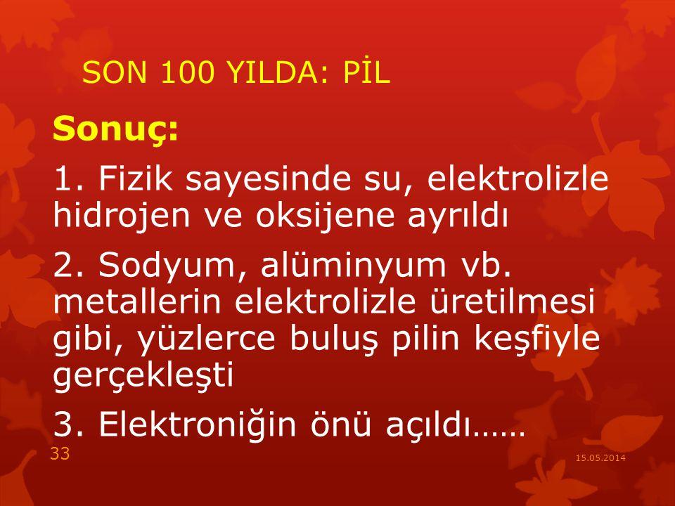 SON 100 YILDA: PİL Sonuç: 1.Fizik sayesinde su, elektrolizle hidrojen ve oksijene ayrıldı 2.