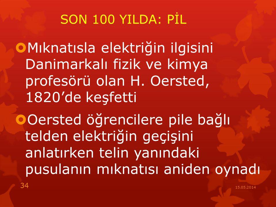 SON 100 YILDA: PİL  Mıknatısla elektriğin ilgisini Danimarkalı fizik ve kimya profesörü olan H.