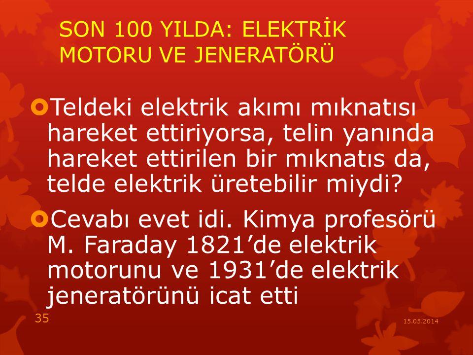 SON 100 YILDA: ELEKTRİK MOTORU VE JENERATÖRÜ  Teldeki elektrik akımı mıknatısı hareket ettiriyorsa, telin yanında hareket ettirilen bir mıknatıs da, telde elektrik üretebilir miydi.