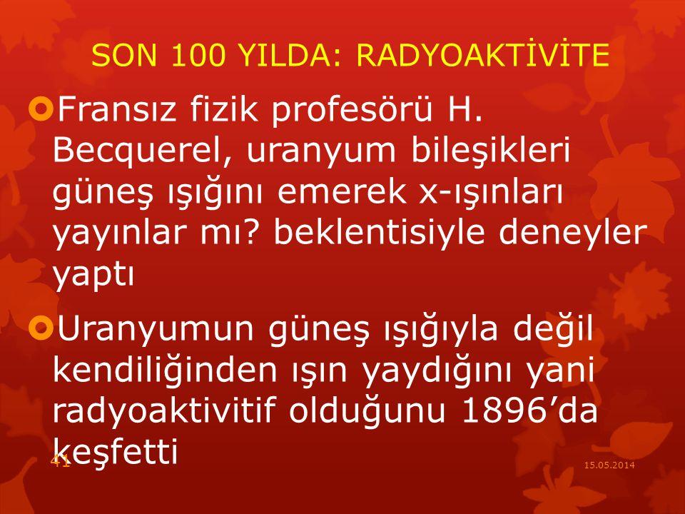 SON 100 YILDA: RADYOAKTİVİTE  Fransız fizik profesörü H.