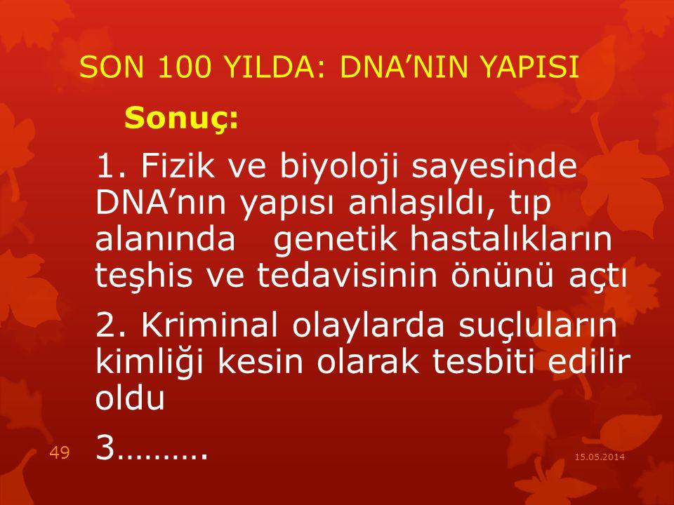 SON 100 YILDA: DNA'NIN YAPISI Sonuç: 1.