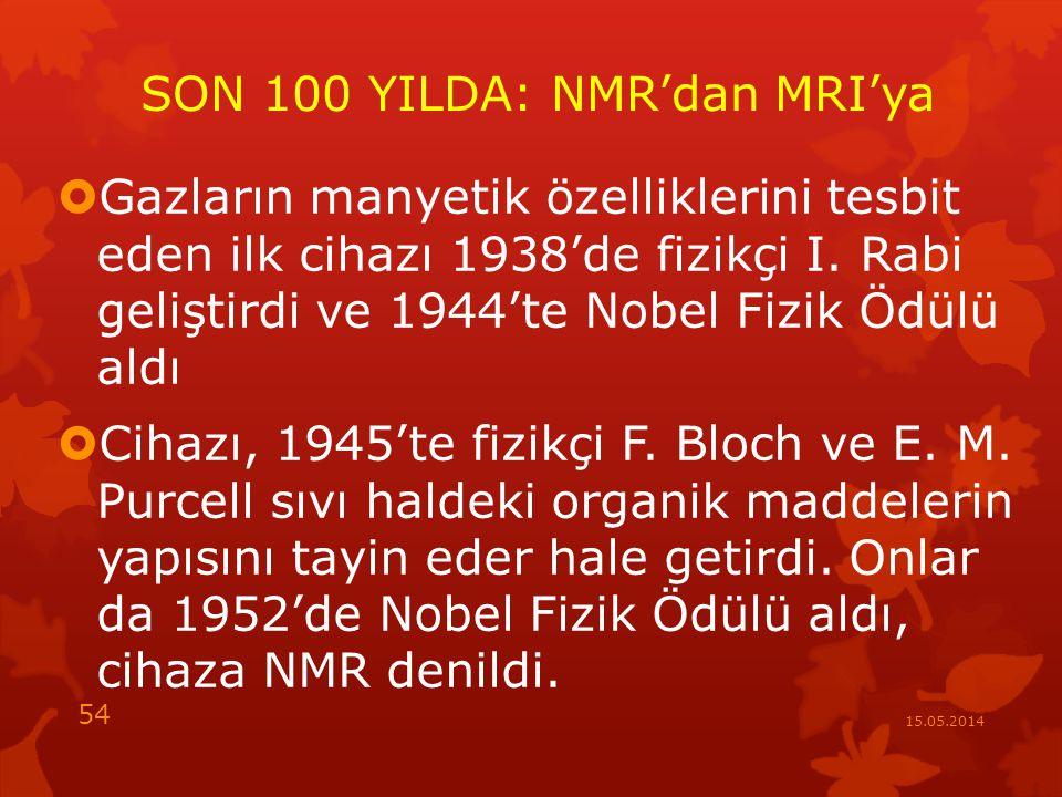 SON 100 YILDA: NMR'dan MRI'ya  Gazların manyetik özelliklerini tesbit eden ilk cihazı 1938'de fizikçi I.