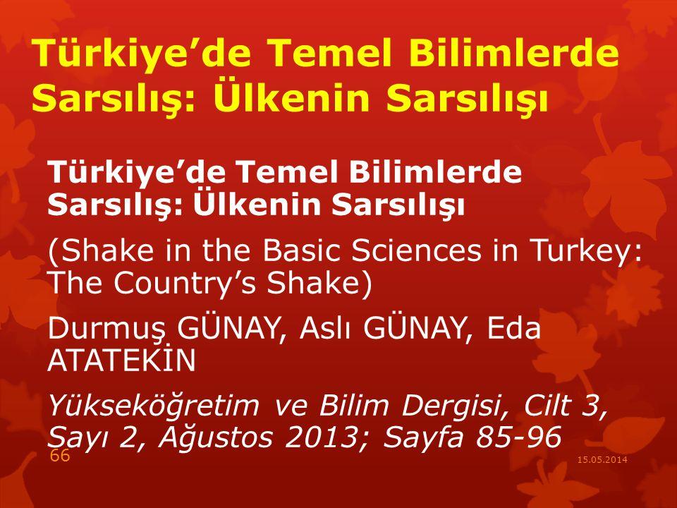 Türkiye'de Temel Bilimlerde Sarsılış: Ülkenin Sarsılışı (Shake in the Basic Sciences in Turkey: The Country's Shake) Durmuş GÜNAY, Aslı GÜNAY, Eda ATATEKİN Yükseköğretim ve Bilim Dergisi, Cilt 3, Sayı 2, Ağustos 2013; Sayfa 85-96 15.05.2014 66
