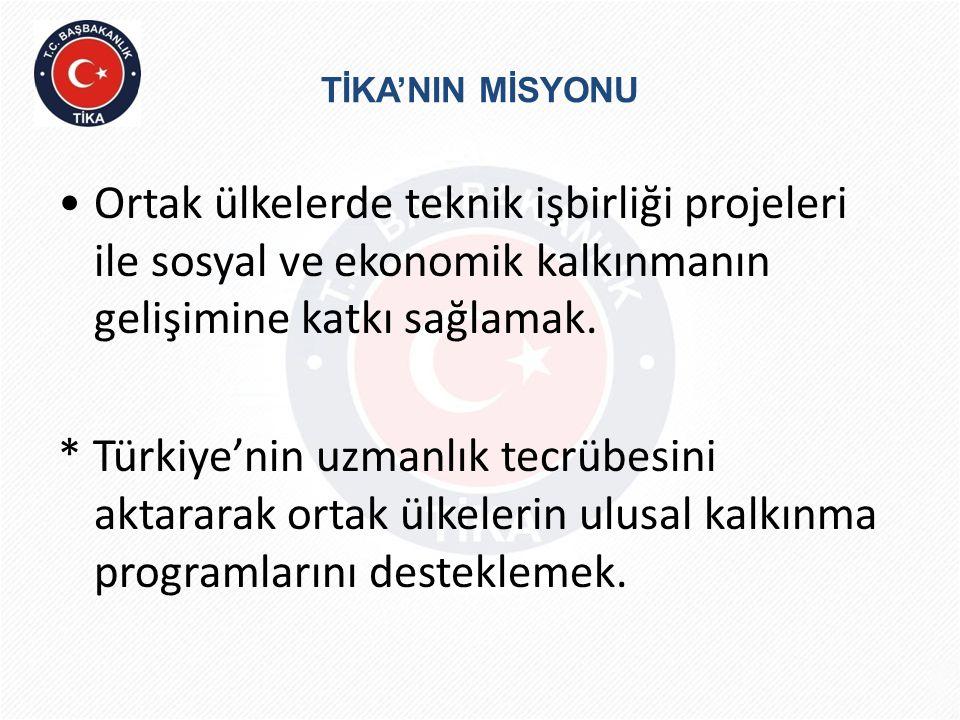 TİKA'NIN MİSYONU •Ortak ülkelerde teknik işbirliği projeleri ile sosyal ve ekonomik kalkınmanın gelişimine katkı sağlamak. * Türkiye'nin uzmanlık tecr