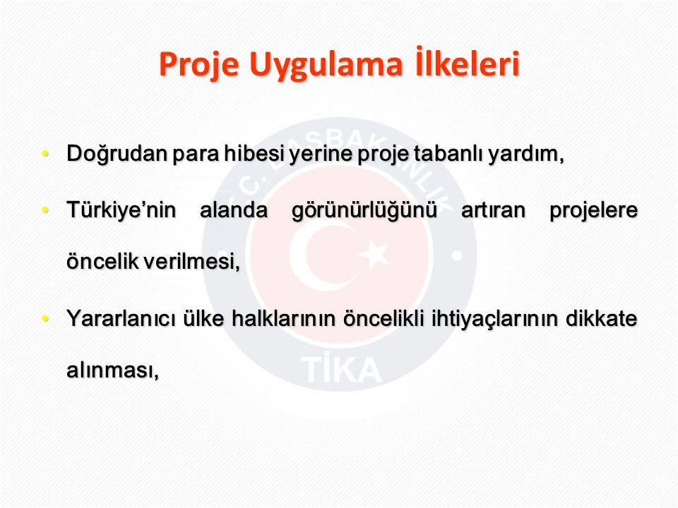 Proje Uygulama İlkeleri • Doğrudan para hibesi yerine proje tabanlı yardım, • Türkiye'nin alanda görünürlüğünü artıran projelere öncelik verilmesi, •