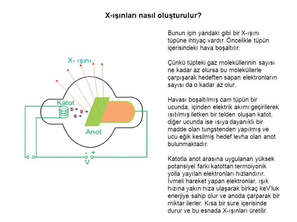 X-ışınları nasıl oluşturulur? Bunun için yandaki gibi bir X-ışını tüpüne ihtiyaç vardır. Öncelikle tüpün içerisindeki hava boşaltılır. Çünkü tüpteki g