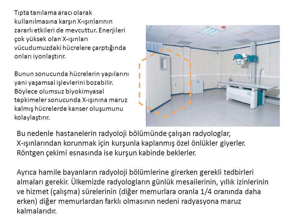 Bu nedenle hastanelerin radyoloji bölümünde çalışan radyologlar, X-ışınlarından korunmak için kurşunla kaplanmış özel önlükler giyerler. Röntgen çekim