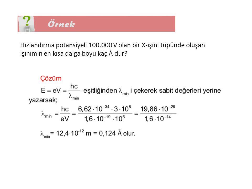 Hızlandırma potansiyeli 100.000 V olan bir X-ışını tüpünde oluşan ışınımın en kısa dalga boyu kaç Å dur?