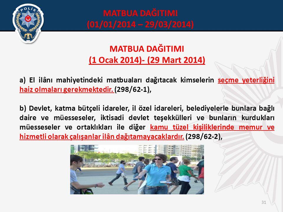 31 MATBUA DAĞITIMI (1 Ocak 2014)- (29 Mart 2014) a) El ilânı mahiyetindeki matbuaları dağıtacak kimselerin seçme yeterliğini haiz olmaları gerekmektedir.