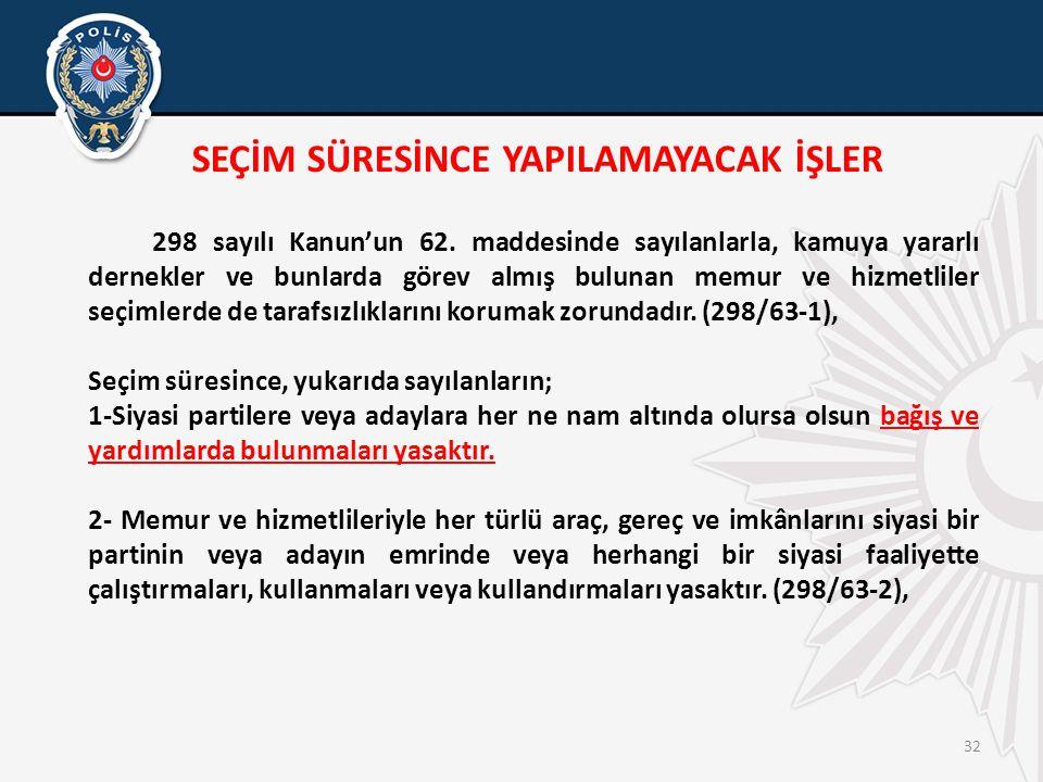 32 SEÇİM SÜRESİNCE YAPILAMAYACAK İŞLER 298 sayılı Kanun'un 62.