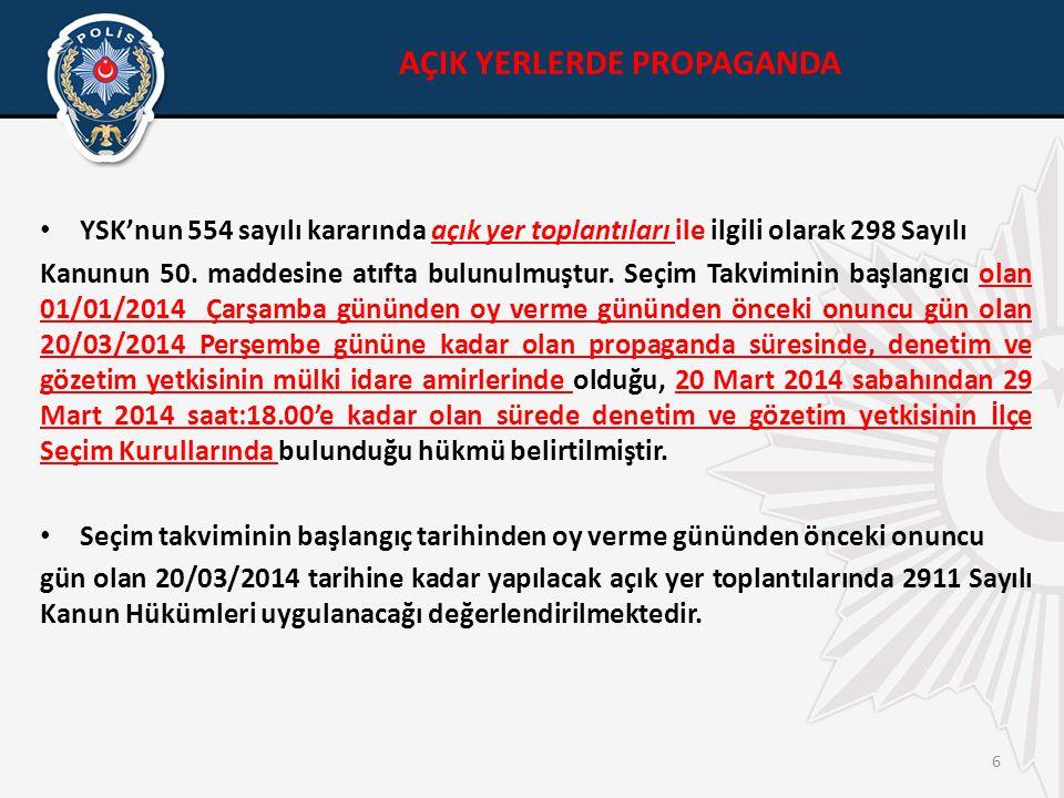 6 • YSK'nun 554 sayılı kararında açık yer toplantıları ile ilgili olarak 298 Sayılı Kanunun 50.