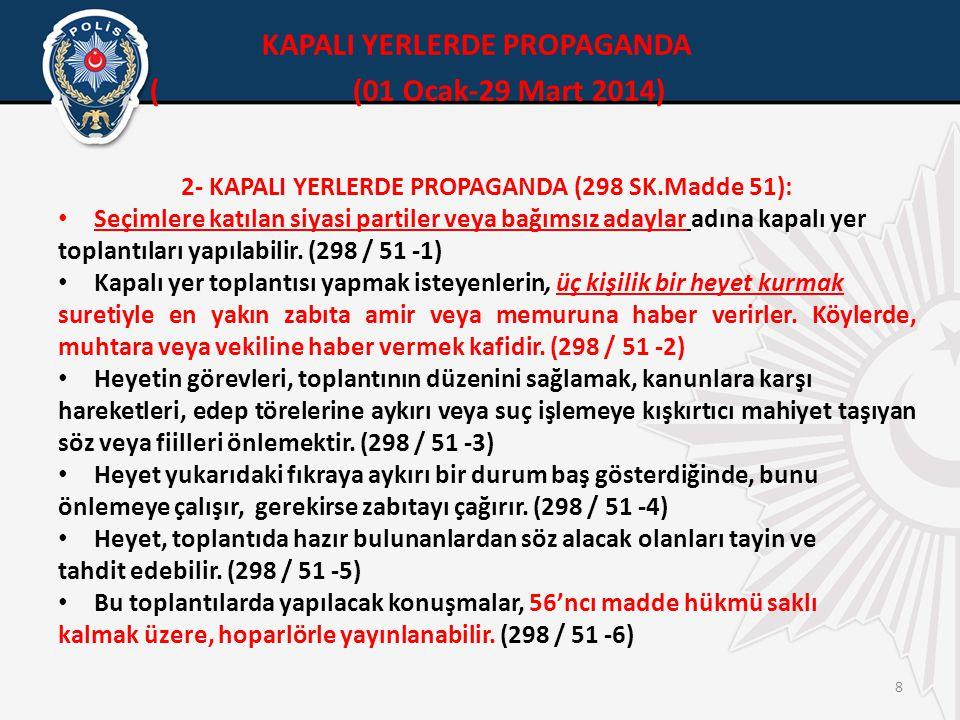 8 2- KAPALI YERLERDE PROPAGANDA (298 SK.Madde 51): • Seçimlere katılan siyasi partiler veya bağımsız adaylar adına kapalı yer toplantıları yapılabilir.