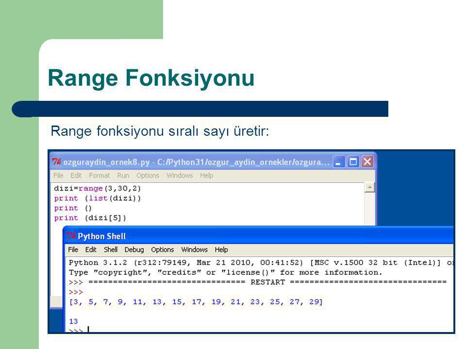 Range Fonksiyonu Range fonksiyonu sıralı sayı üretir:  range(10): 1 den 10'a kadar sayı üretir.  range(5,20): 5'den 20'ye kadar sayı üretir.  range