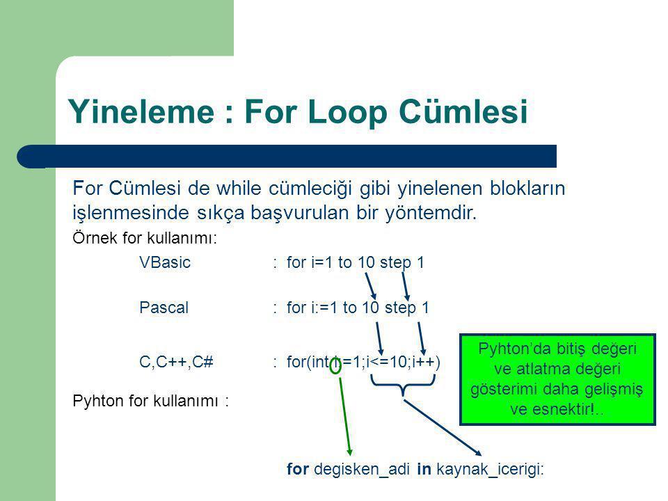 Yineleme : For Loop Cümlesi For Cümlesi de while cümleciği gibi yinelenen blokların işlenmesinde sıkça başvurulan bir yöntemdir. Örnek for kullanımı: