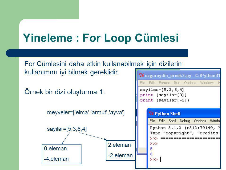 Yineleme : For Loop Cümlesi For Cümlesini daha etkin kullanabilmek için dizilerin kullanımını iyi bilmek gereklidir. Örnek bir dizi oluşturma 1: meyve