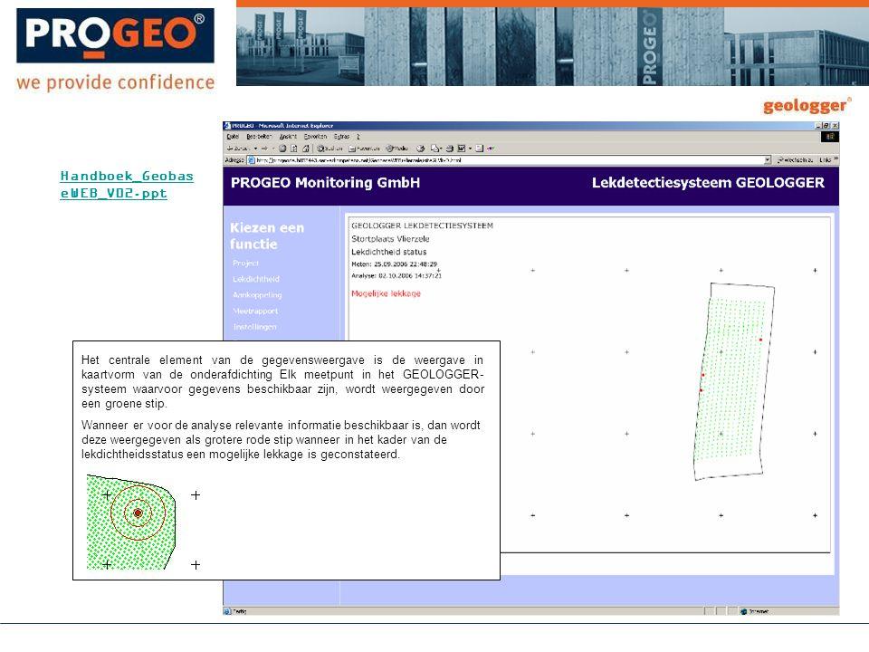 Het centrale element van de gegevensweergave is de weergave in kaartvorm van de onderafdichting Elk meetpunt in het GEOLOGGER- systeem waarvoor gegevens beschikbaar zijn, wordt weergegeven door een groene stip.