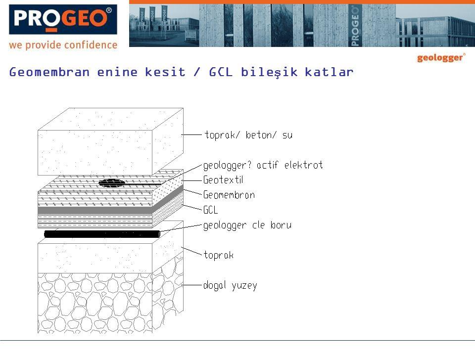 Geomembran enine kesit / GCL bileşik katlar