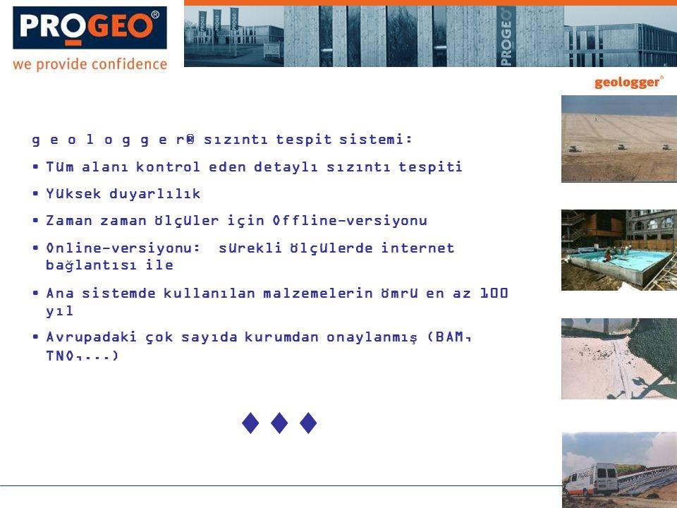 g e o l o g g e r® sızıntı tespit sistemi: •Tüm alanı kontrol eden detaylı sızıntı tespiti •Yüksek duyarlılık •Zaman zaman ölçüler için Offline-versiyonu •Online-versiyonu: sürekli ölçülerde internet bağlantısı ile •Ana sistemde kullanılan malzemelerin ömrü en az 100 yıl •Avrupadaki çok sayıda kurumdan onaylanmış (BAM, TNO,...) 