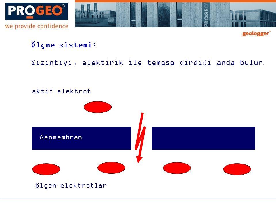 Ölçme sistemi: Sızıntıyı, elektirik ile temasa girdiği anda bulur. aktif elektrot Geomembran ölçen elektrotlar