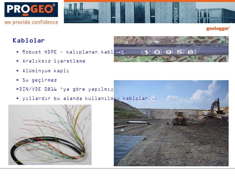 Kablolar • Robust HDPE – kalıplanan kablolar • Aralıksız işaretleme • Alüminyum kaplı • Su geçirmez •DIN/VDE 0816 'ya göre yapılmış • yıllardır bu alanda kullanılmış kablolar...