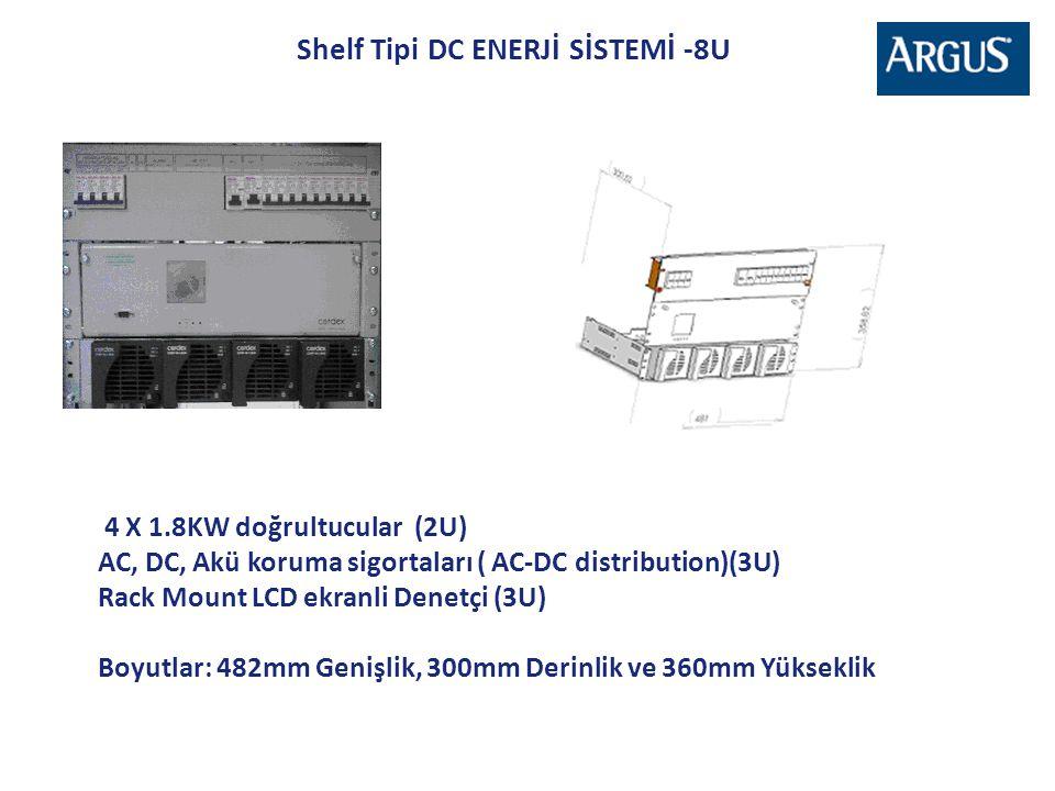 Shelf Tipi DC ENERJİ SİSTEMİ -8U 4 X 1.8KW doğrultucular (2U) AC, DC, Akü koruma sigortaları ( AC-DC distribution)(3U) Rack Mount LCD ekranli Denetçi