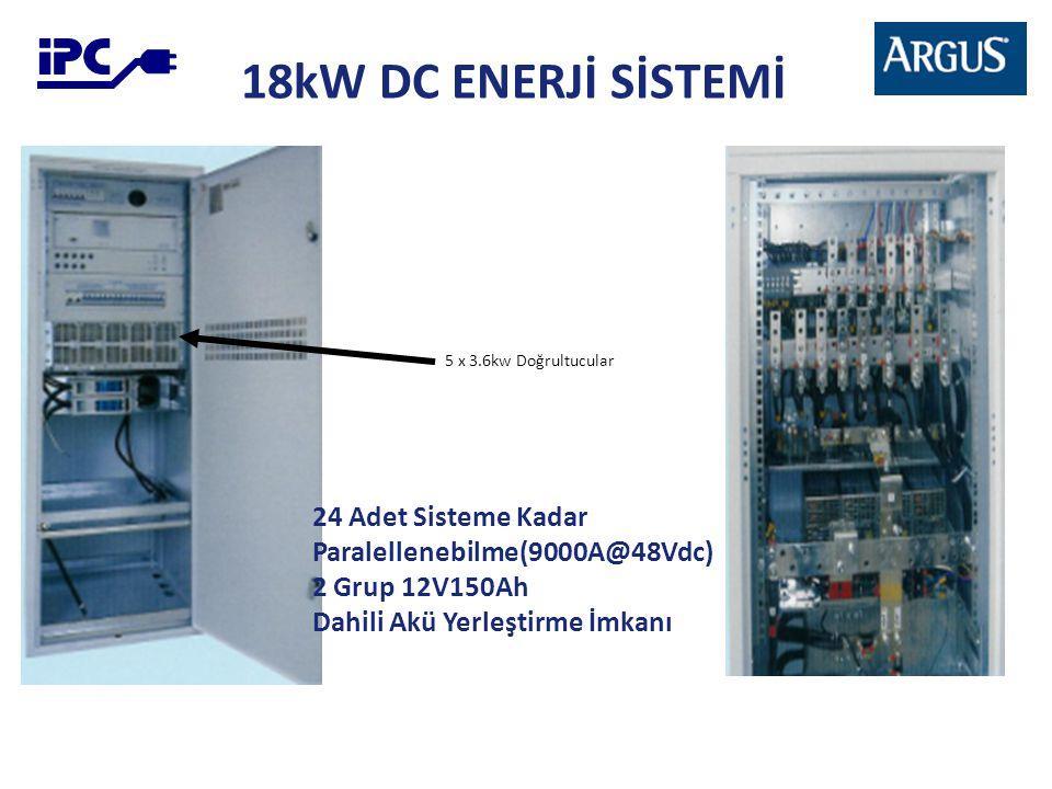 18kW DC ENERJİ SİSTEMİ 5 x 3.6kw Doğrultucular 24 Adet Sisteme Kadar Paralellenebilme(9000A@48Vdc) 2 Grup 12V150Ah Dahili Akü Yerleştirme İmkanı