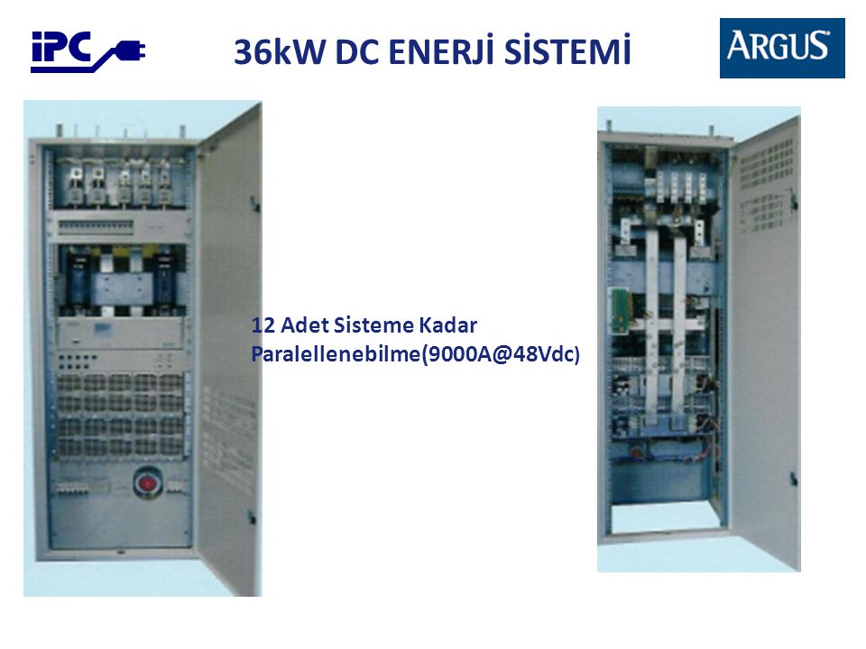 36kW DC ENERJİ SİSTEMİ 12 Adet Sisteme Kadar Paralellenebilme(9000A@48Vdc )
