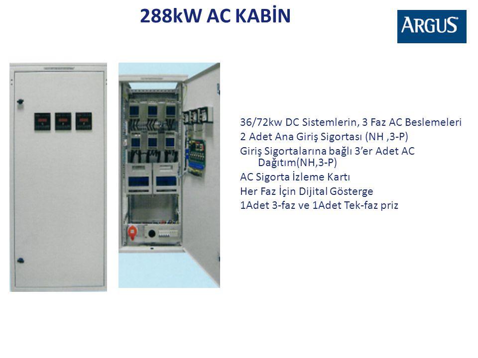 288kW AC KABİN 36/72kw DC Sistemlerin, 3 Faz AC Beslemeleri 2 Adet Ana Giriş Sigortası (NH,3-P) Giriş Sigortalarına bağlı 3'er Adet AC Dağıtım(NH,3-P)