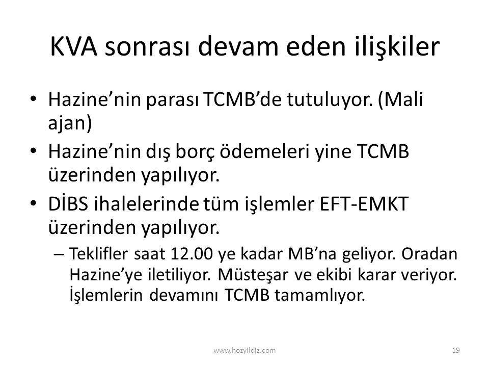 KVA sonrası devam eden ilişkiler • Hazine'nin parası TCMB'de tutuluyor. (Mali ajan) • Hazine'nin dış borç ödemeleri yine TCMB üzerinden yapılıyor. • D