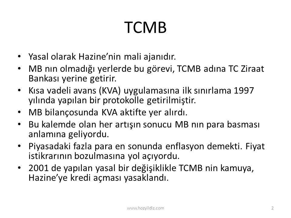 TCMB • Yasal olarak Hazine'nin mali ajanıdır. • MB nın olmadığı yerlerde bu görevi, TCMB adına TC Ziraat Bankası yerine getirir. • Kısa vadeli avans (