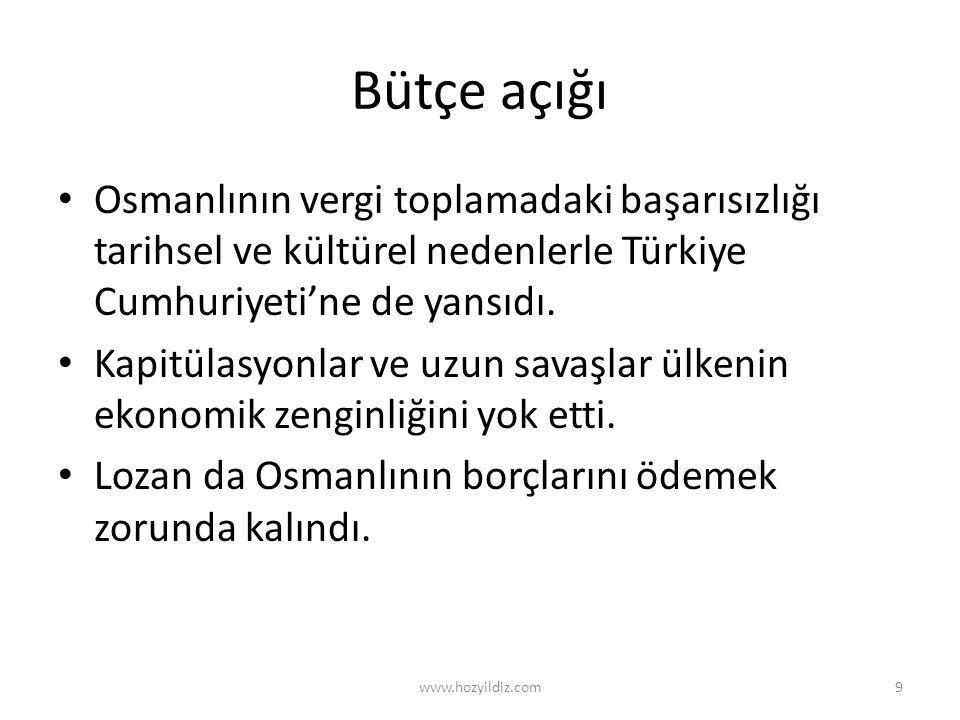 Bütçe açığı • Osmanlının vergi toplamadaki başarısızlığı tarihsel ve kültürel nedenlerle Türkiye Cumhuriyeti'ne de yansıdı. • Kapitülasyonlar ve uzun