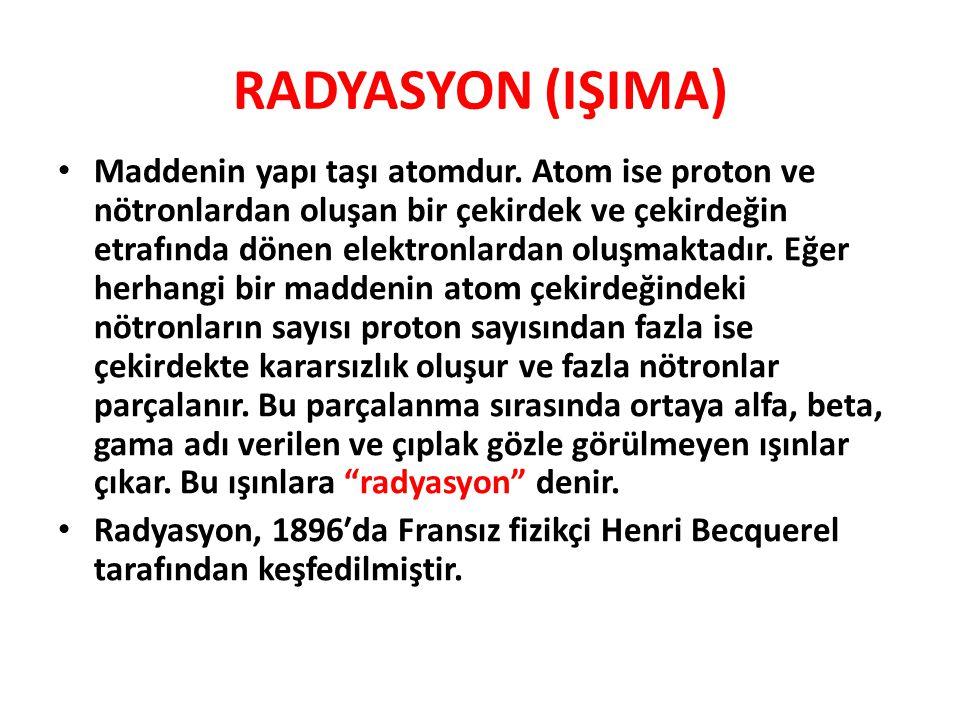 RADYASYON (IŞIMA) • Maddenin yapı taşı atomdur.