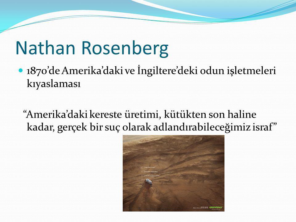 """Nathan Rosenberg  1870'de Amerika'daki ve İngiltere'deki odun işletmeleri kıyaslaması """"Amerika'daki kereste üretimi, kütükten son haline kadar, gerçe"""