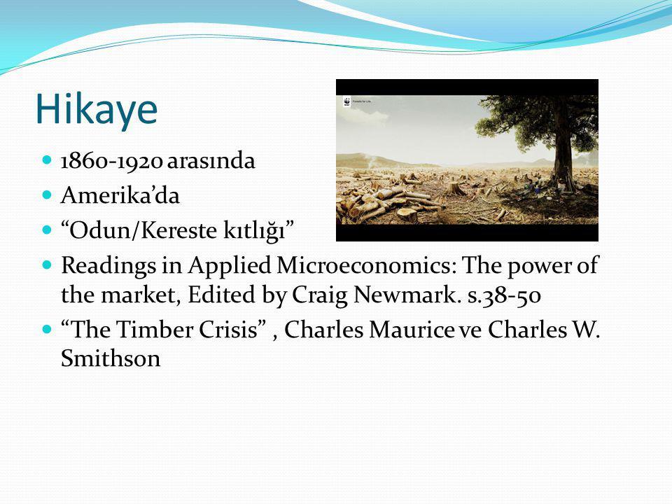 "Hikaye  1860-1920 arasında  Amerika'da  ""Odun/Kereste kıtlığı""  Readings in Applied Microeconomics: The power of the market, Edited by Craig Newma"