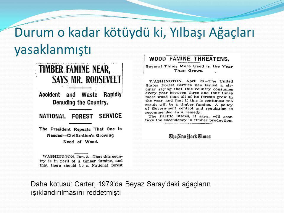 Diğer Başlıklar  31 Aralık 1900: Kereste Arzının sonu  6 Ocak 1905: Roosevelt: Kereste Kıtlığı yakın  31 Ağustos 1908: Ormanları korumak için yeni plan  31 Ekim 1908: Ağaçlar yok oluyor, odun kaynağı sona geliyor- çok israf edildi ve ikamesi yok  16 Aralık 1908: Ağaçları korumak için acil yasalar, 10 yıl içerisinde tüm ormanlar yok olacak