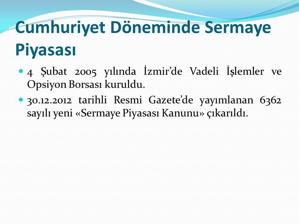 Cumhuriyet Döneminde Sermaye Piyasası  4 Şubat 2005 yılında İzmir'de Vadeli İşlemler ve Opsiyon Borsası kuruldu.  30.12.2012 tarihli Resmi Gazete'de