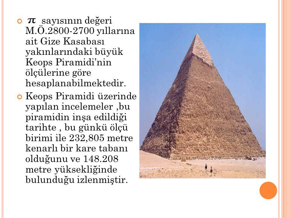 sayısının değeri M.Ö.2800-2700 yıllarına ait Gize Kasabası yakınlarındaki büyük Keops Piramidi'nin ölçülerine göre hesaplanabilmektedir. Keops Piramid
