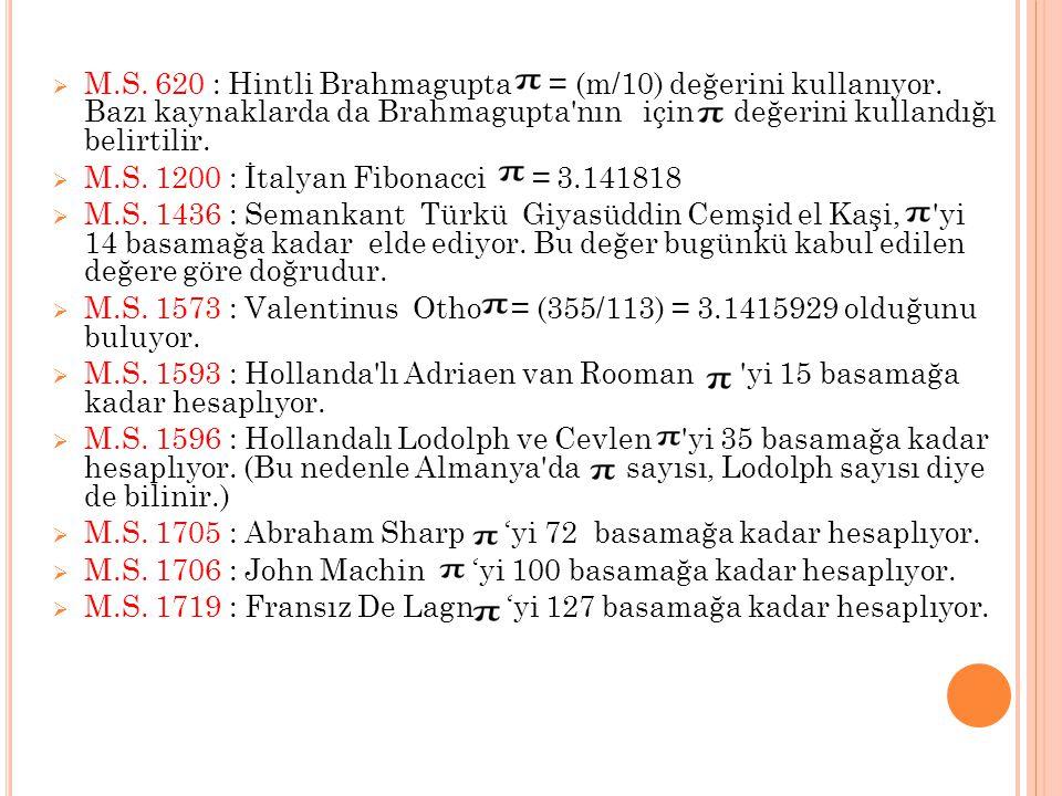  M.S. 620 : Hintli Brahmagupta = (m/10) değerini kullanıyor. Bazı kaynaklarda da Brahmagupta'nın için değerini kullandığı belirtilir.  M.S. 1200 : İ