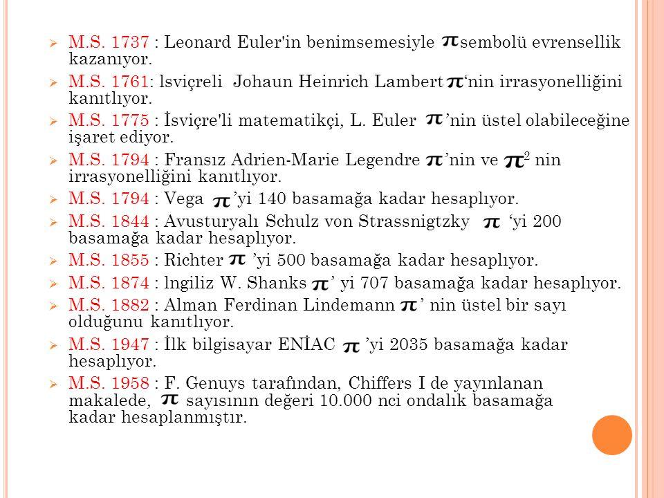  M.S. 1737 : Leonard Euler'in benimsemesiyle sembolü evrensellik kazanıyor.  M.S. 1761: lsviçreli Johaun Heinrich Lambert 'nin irrasyonelliğini kanı