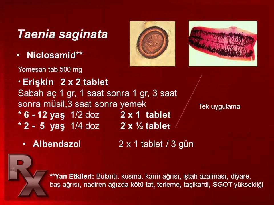 Taenia saginata •Niclosamid** Yomesan tab 500 mg * Erişkin 2 x 2 tablet Sabah aç 1 gr, 1 saat sonra 1 gr, 3 saat sonra müsil,3 saat sonra yemek * 6 -