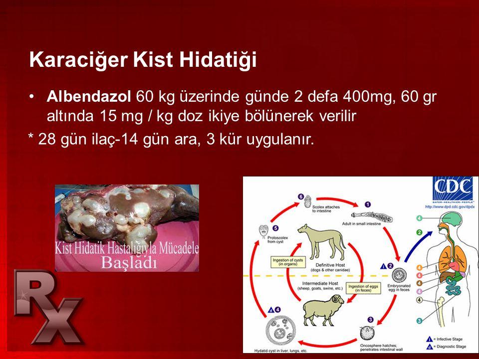 Karaciğer Kist Hidatiği •Albendazol 60 kg üzerinde günde 2 defa 400mg, 60 gr altında 15 mg / kg doz ikiye bölünerek verilir * 28 gün ilaç-14 gün ara,