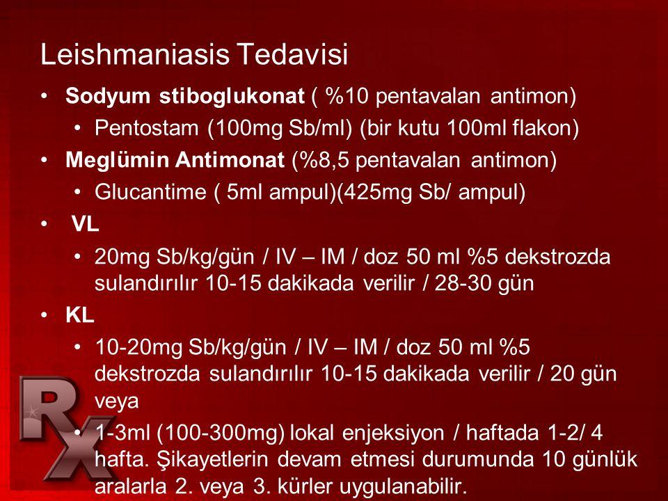 Leishmaniasis Tedavisi •Sodyum stiboglukonat ( %10 pentavalan antimon) •Pentostam (100mg Sb/ml) (bir kutu 100ml flakon) •Meglümin Antimonat (%8,5 pent