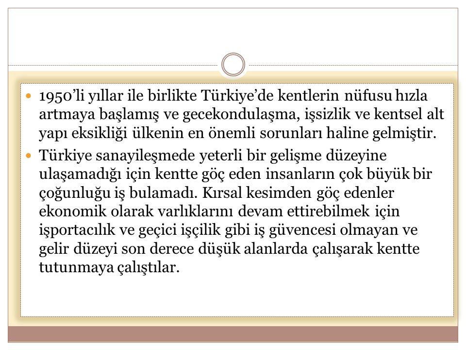  1950'li yıllar ile birlikte Türkiye'de kentlerin nüfusu hızla artmaya başlamış ve gecekondulaşma, işsizlik ve kentsel alt yapı eksikliği ülkenin en önemli sorunları haline gelmiştir.