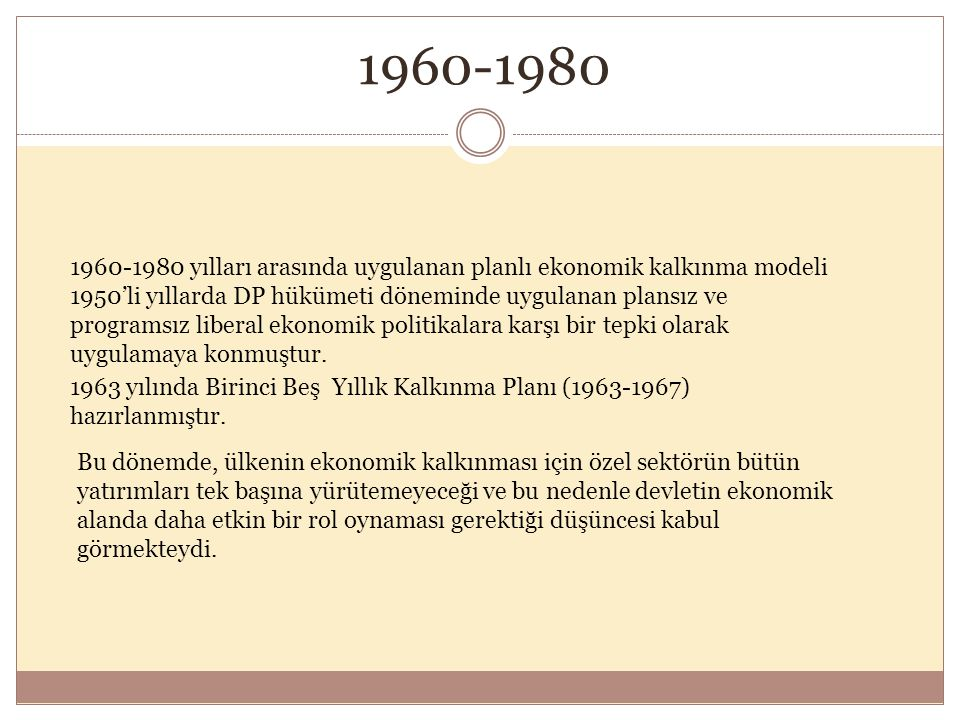 1960-1980 yılları arasında uygulanan planlı ekonomik kalkınma modeli 1950'li yıllarda DP hükümeti döneminde uygulanan plansız ve programsız liberal ekonomik politikalara karşı bir tepki olarak uygulamaya konmuştur.