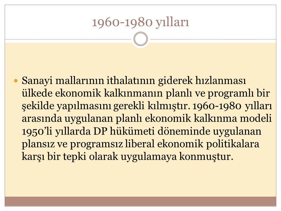 1960-1980 yılları  Sanayi mallarının ithalatının giderek hızlanması ülkede ekonomik kalkınmanın planlı ve programlı bir şekilde yapılmasını gerekli kılmıştır.